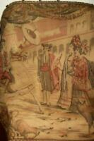 19th C. FRENCH CHATEAU TAPESTRY LADIES FANS CORRIDA BULL FIGHT OLD COLORS