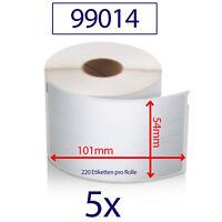 5x Etiketten 99014 kompatibel zu DYMO 54x101mm 220 Label / Rolle Adressetiketten