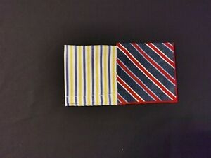 Set of Two Linen Men's Handkerchiefs with Striped Pattern
