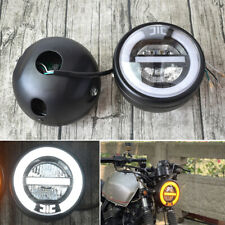 """6.8"""" Retro Modified White LED Hi/Lo Headlight DRL Halo Ring Light For Motorcycle"""