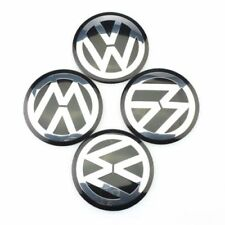 4PCS 60mm VW Volkswagen Wheel Center Hub Caps Emblem Badge Decals Sticker Black
