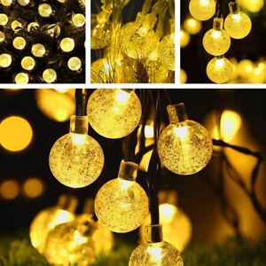50 LED Solar Fairy Lights Ball Bulbs Window Curtain String Light Wedding Party