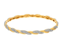"BRONZO ITALIA YELLOW BRONZE CRYSTAL POLISHED & TWISTED 8"" BANGLE BRACELET QVC"