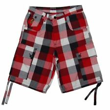 Cotton Blend Checked Cargo, Combat Shorts for Men