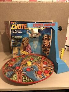 Boxed Vintage 1970s Marx Toys Chutes Away Airplane Drop Air Rescue Game Wind Up
