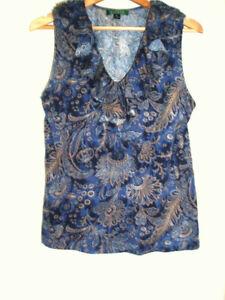 RALPH LAUREN : petit haut imprimé cachemire bleu XL 42