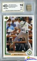 1991 Upper Deck #656 Mark McGwire Hidden Treasures+GAME USED BAT BECKETT 10