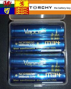 4 X Vapcell M34 10A INR batter 3400mAh Li-IOn 3.7v for Pard nightscope, vaping