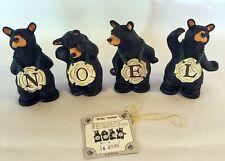 """Big Sky Carvers Jeff Fleming """"Noel"""" Bears 4 Figurine Set Retired #4039"""
