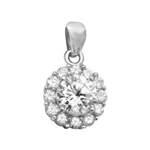Men's Sterling Silver Cubic Zirconia Round Cluster Pendant