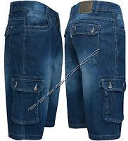 "Mens Casual Denim Regular Fit Combats Cargo Shorts 3/4 Knee Length Pants 30""-42"""