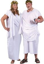 Ladies or Mens  XL Plus Size White Roman Toga Party Fancy Dress Costume Outfit