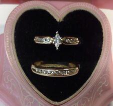 Wedding Set Marquise And Round Diamonds Size 7 14k Gold (j439)