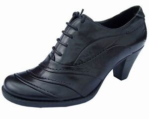 Ladies Black Leather heeled shoes boots Womens lace up court shoes NEW