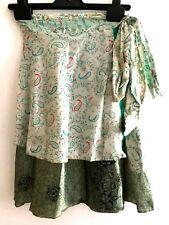 100% SILK short reversible wrap Skirt Pixie Boho Hippy Festival ONE SIZE 25A