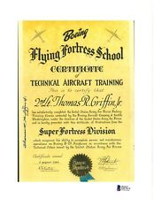 Thomas Griffin Signed Flying Fortress Document BAS D87815 Manhattan Project