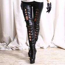 Damen Leder Hose Punk Schwarz Gothik Steampunk Leggings Kunstleder Strumpfhosen