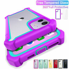 For iPhone 11 12 Pro Max Case 360° Shockproof Hybrid Hard Clear Silicone Cover