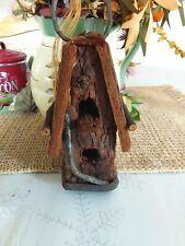 Hanging Tree Bark Bird House inside or outdoor Rustic Look Handmade