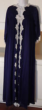PEIGNOIR SET VINTAGE NAVY BLUE NIGHTGOWN & ROBE WITH LACE, KAYSER SIZE MEDIUM