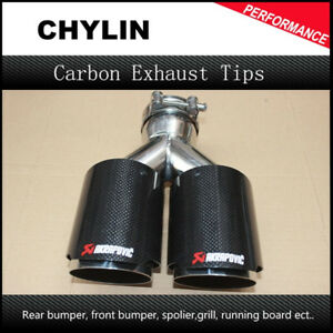 """Inlet 2.5"""" Outlet 3.5"""" Stainless car glossy Carbon Fiber Car Exhaust Tip tailpip"""