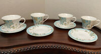 Set of Four 222 Fifth Eliza Spring Teal Cups & Saucers