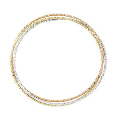 Bangle Solid Silver Russian Wedding Bracelet Yellow and Rose Gold Plate