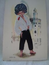 Spain Silk Embroidered Child, Gallarda Artist Signed Old Postcard