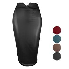Women Pencil Skirt Faux Leather Bodycon Skirts Knee Length Office Dress S-3XL
