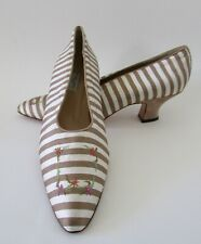 NEW VTG Philippe Model Paris Silk Pinstripe Embroidered Floral Pumps 7.5