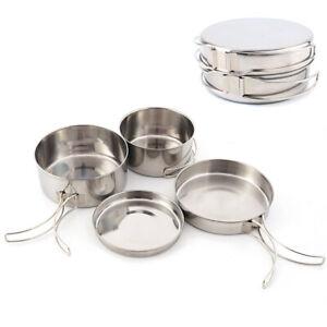 4 Pcs Stainless Steel Hiking Camping Cookware Picnic Cooking Bowl Pot Pan Set