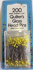 """COLLINS QUILTERS FINE SHARP 1 3/8"""" GLASS HEAD PINS"""