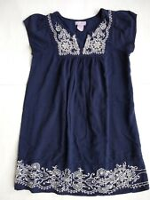One Clothing Navy Blue Embroidered Boho Tunic Long Blouse Top Sz Small