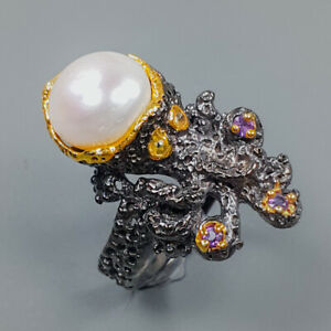 Jewelry Handmade  Pearl Ring Silver 925 Sterling  Size 6 /R162626