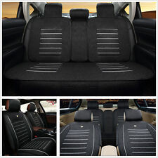 Black Linen Fabric Universal Car Seat Cover Front+Rear Car Styling Seat Supports