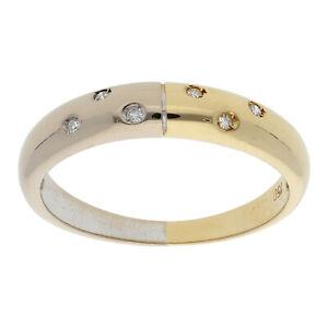 Diamant Ring 0,08 ct 750 Gelb Weißgold Gr 54 18 Karat Bicolor Schmuck R02.6561