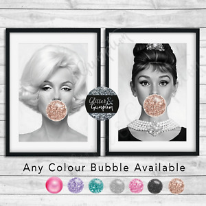 Bubblegum Marilyn Monroe, Audrey Hepburn Beauty Bedroom Wall Fashion Art Print