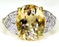 Large Serenite & Diamond 9ct Yellow Gold ring size N 1/2 ~ 7 US
