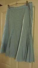 BROWN SUGAR pale aqua lined soft cotton midi skirt size 12 as new