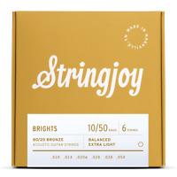 Stringjoy Brights   Extra Light Gauge (10-50) 80/20 Bronze Acoustic Guitar Strin