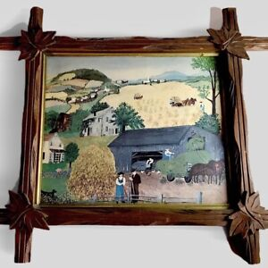 Vintage Adirondack Carved Wood Picture Frame Original Primitive Print 18.5""