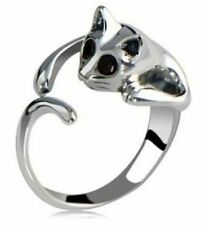 NEW Cat Kitten BLACK CRYSTAL EYES Open Adjustable Silver Ring ~ USA SELLER