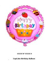 "Round Cupcake 18"" Helium Foil Balloon Birthday Party Decor Favors supplies NEW"