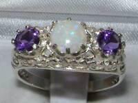 Solid 925 Sterling Silver Genuine Opal & Amethyst English Filigree Trilogy Ring