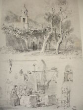 GRAVURE XIXe VOYAGE EN ITALIE  signée Karl Girardet 1842