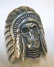 DELUXE INDIAN WARRIOR W BONNET SKULL SILVER BIKER RING BR226 mens RINGS jewelry