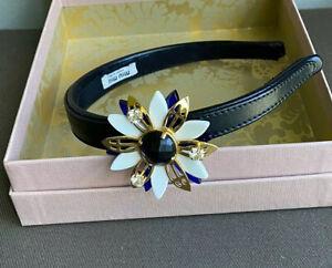 Miu Miu Crystal Embellished Hairband with Black Leather HeadBand In Original Box