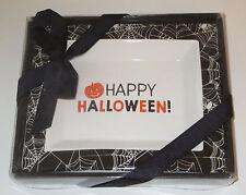 "Happy Halloween Tidbit Dish Pumpkin Black Spider Web Ceramic New 6.5"" Long"