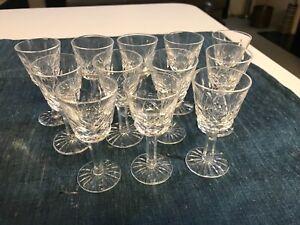 SET 12 SUPERB VINTAGE Waterford LISMORE CUT CRYSTAL CORDIAL GLASSES Stems MINT