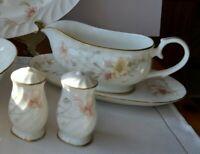 Gorham TRELLIS Salt & Pepper Shakers, Gravy Boat & Under Plate Floral Gold Trim